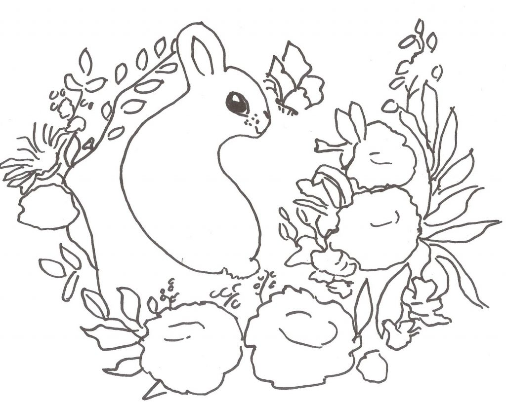 Sweet Bunny Coloring Page